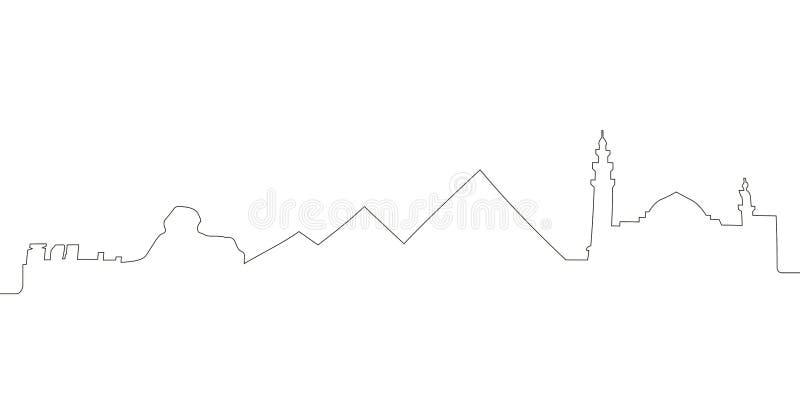 Συνεχής ορίζοντας γραμμών του Καίρου διανυσματική απεικόνιση