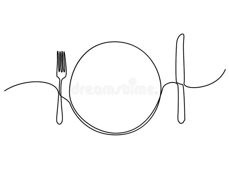 Συνεχής πιάτο, khife και δίκρανο γραμμών r ελεύθερη απεικόνιση δικαιώματος