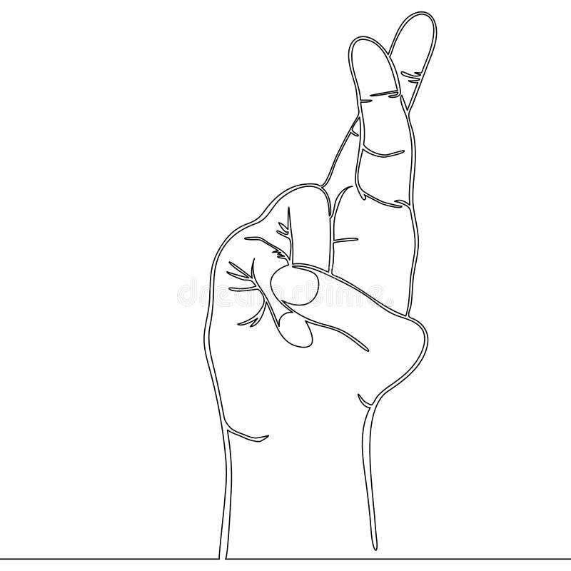 Συνεχής συρμένο γραμμή διασχισμένο δάχτυλα διάνυσμα διανυσματική απεικόνιση