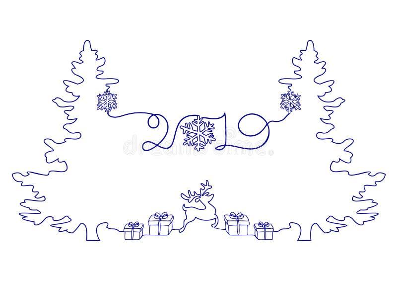 Συνεχής σχέδιο γραμμών διακοπών καλής χρονιάς, ενός χριστουγεννιάτικου δέντρου, Snowflakes, των δώρων και των ελαφιών ελεύθερη απεικόνιση δικαιώματος