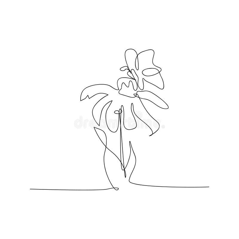 συνεχής σχεδίαση γραμμής με όμορφο λουλούδι με πεταλούδα απομονωμένο σχέδιο σκίτσου από όμορφο λουλούδι με γραμμή πεταλούδας διανυσματική απεικόνιση