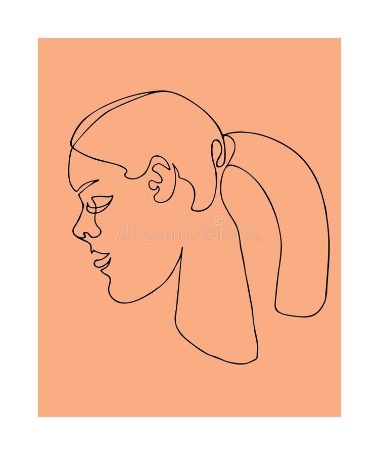 Συνεχής τέχνη γραμμών Ένα σχέδιο γραμμών Γραπτός μινιμαλιστικός γραφικός Τέχνη του προσώπου γυναικών και hairstyle ελεύθερη απεικόνιση δικαιώματος