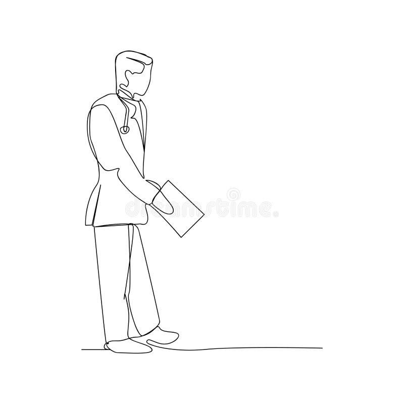 συνεχής χάραξη ιατρικών εγγράφων σχέδιο απομονωμένου σκίτσου έννοιας γραμμής ανάγνωσης ιατρικών εγγράφων λεπτό διανυσματική απεικόνιση