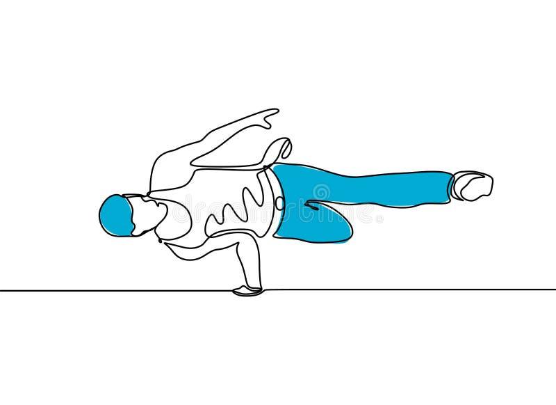 Συνεχής χορευτής σπασιμάτων σχεδίων γραμμών που απομονώνεται στο άσπρο υπόβαθρο Σύγχρονο θέμα χορού με το μινιμαλισμό ένα συρμένο διανυσματική απεικόνιση
