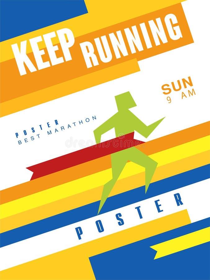 Συνεχίστε τη ζωηρόχρωμη αφίσα, καλύτερος μαραθώνιος, πρότυπο για την αθλητική εκδήλωση, πρωτάθλημα, πρωταθλήματα, μπορεί να χρησι απεικόνιση αποθεμάτων