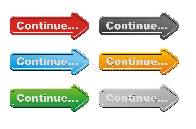 Συνεχιστείτε - κουμπιά βελών ελεύθερη απεικόνιση δικαιώματος