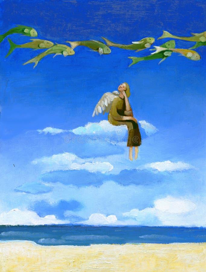 Συνεδρίαση αγγέλου σε ένα σύννεφο διανυσματική απεικόνιση