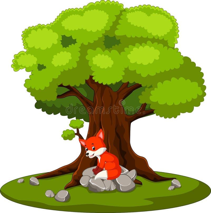 Συνεδρίαση αλεπούδων στην πέτρα ελεύθερη απεικόνιση δικαιώματος