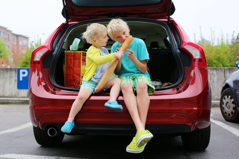 Συνεδρίαση αδελφών και αδελφών στο οικογενειακό αυτοκίνητο στοκ εικόνα