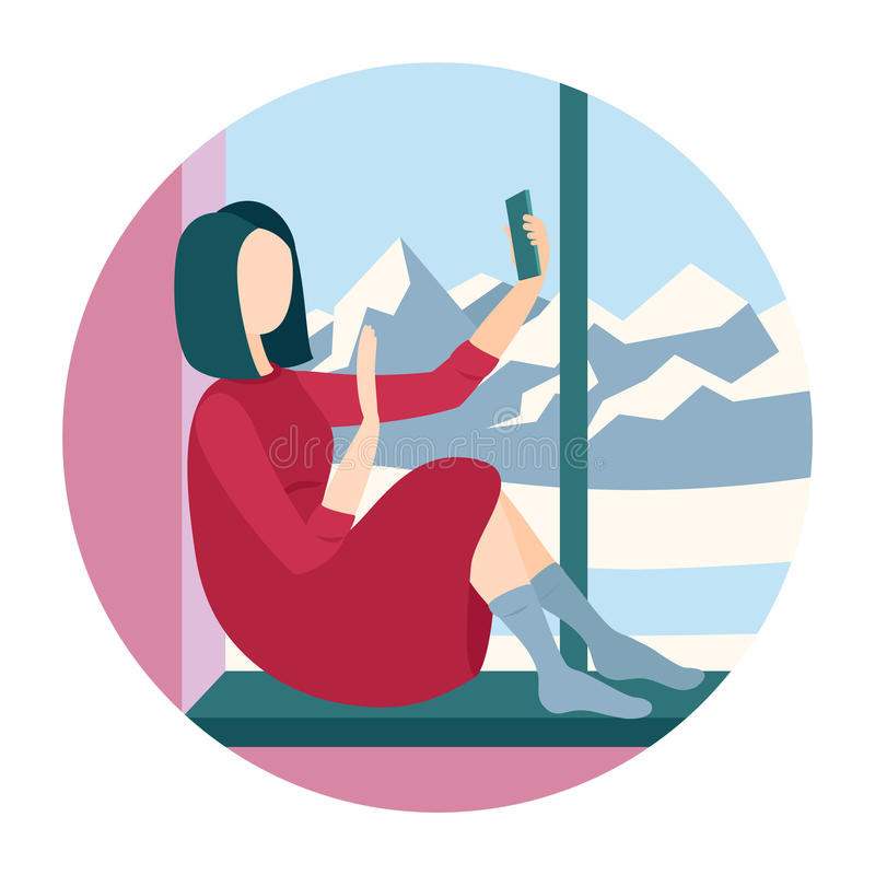 Συνεδρίαση γυναικών σε ένα windowsill διανυσματική απεικόνιση