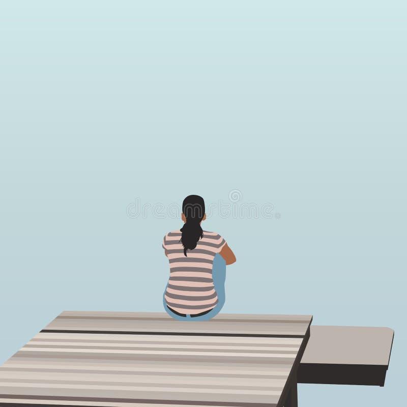 Συνεδρίαση γυναικών στην ξύλινη αποβάθρα στη λίμνη ελεύθερη απεικόνιση δικαιώματος