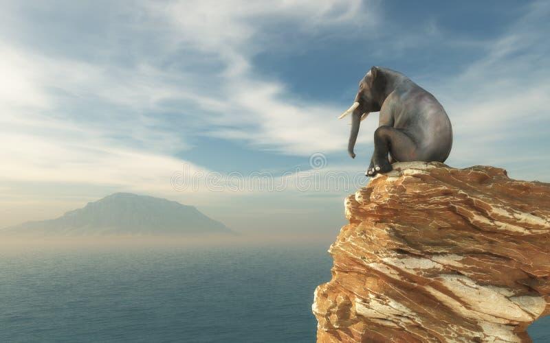 Συνεδρίαση ελεφάντων στην άκρη ελεύθερη απεικόνιση δικαιώματος