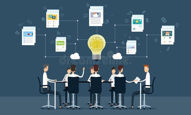 συνεδρίαση και καταιγισμός ιδεών της επιχειρησιακής ομαδικής εργασίας ανθρώπων απεικόνιση αποθεμάτων
