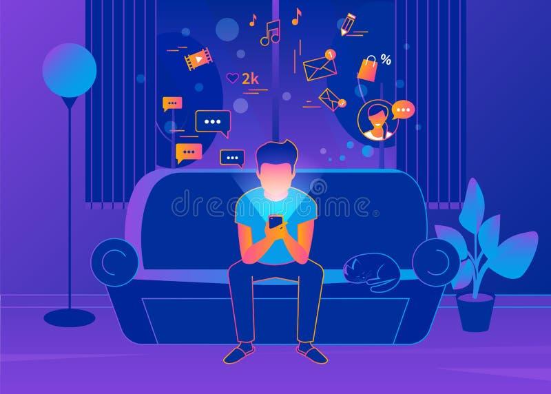 Συνεδρίαση νεαρών άνδρων στο σπίτι στον καναπέ και τα texting μηνύματα διανυσματική απεικόνιση