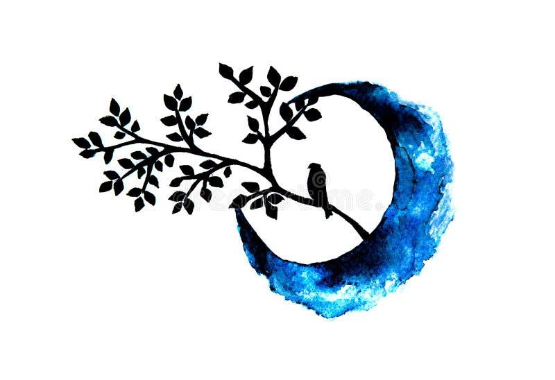 Συνεδρίαση πουλιών σε έναν κλάδο με το μισό φεγγάρι ελεύθερη απεικόνιση δικαιώματος