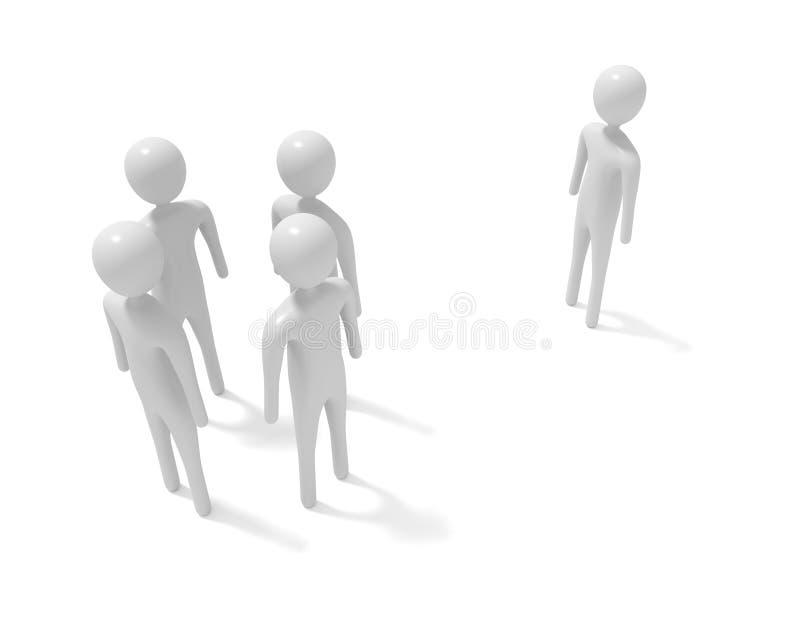 Συνεδρίαση: τέσσερα λευκά τρισδιάστατα άτομα και ένας ξένος, τρισδιάστατη απεικόνιση απεικόνιση αποθεμάτων