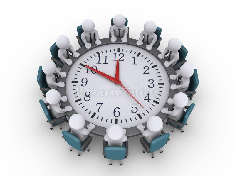 Συνεδρίαση των επιχειρηματιών γύρω από έναν ρολόι-πίνακα απεικόνιση αποθεμάτων