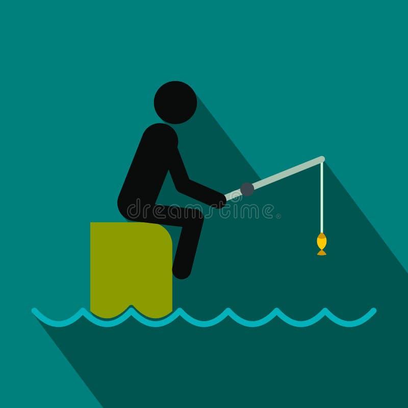 Συνεδρίαση ψαράδων στην αποβάθρα με το επίπεδο εικονίδιο ράβδων απεικόνιση αποθεμάτων