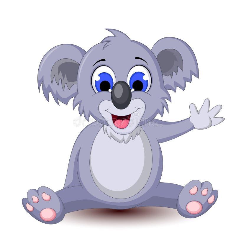 Συνεδρίαση koala κινούμενων σχεδίων με το κυματίζοντας χέρι ελεύθερη απεικόνιση δικαιώματος