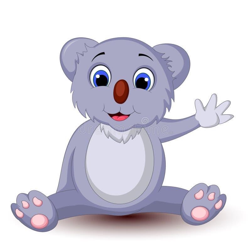 Συνεδρίαση koala κινούμενων σχεδίων με το κυματίζοντας χέρι απεικόνιση αποθεμάτων