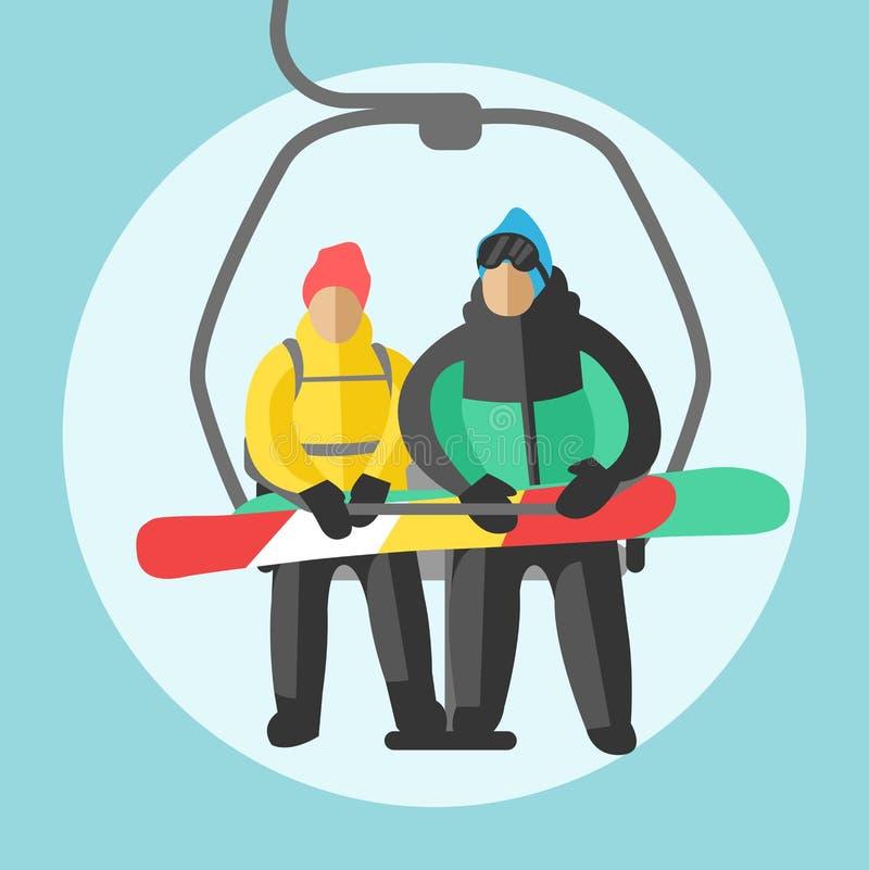 Συνεδρίαση Snowboarder στους ανελκυστήρες γονδολών και ανελκυστήρων σκι Υπόβαθρο θερέτρου χειμερινού αθλητισμού διανυσματική απεικόνιση