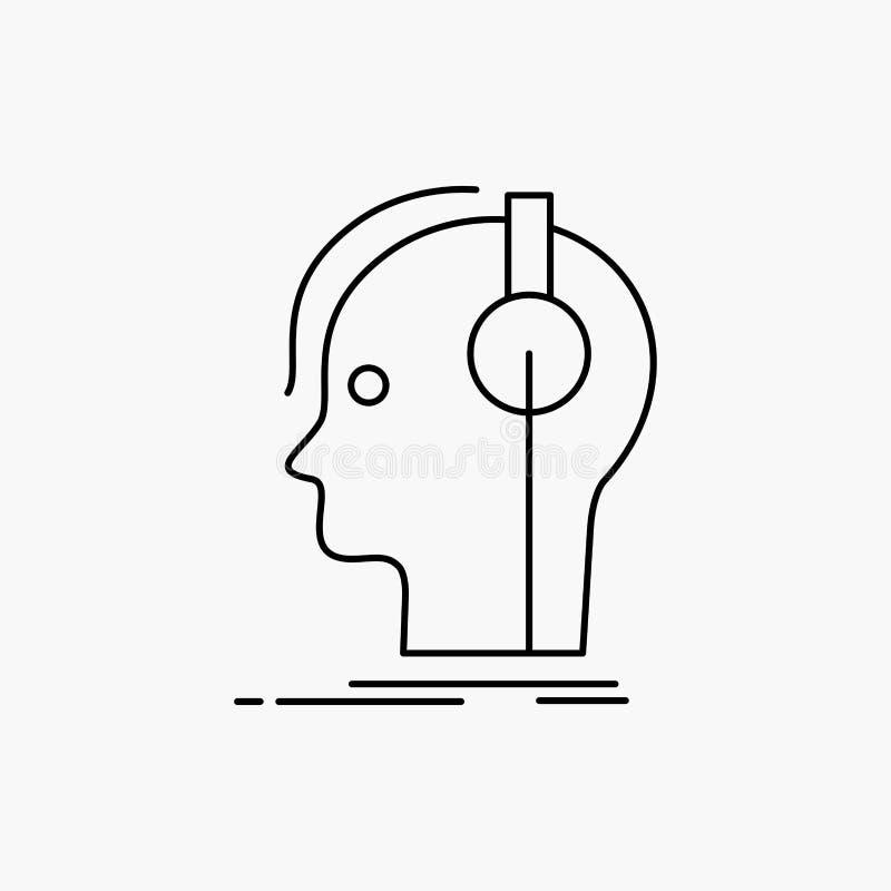 συνθέτης, ακουστικά, μουσικός, παραγωγός, υγιές εικονίδιο γραμμών : απεικόνιση αποθεμάτων
