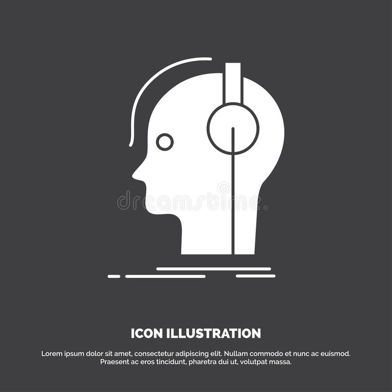 συνθέτης, ακουστικά, μουσικός, παραγωγός, υγιές εικονίδιο glyph διανυσματικό σύμβολο για UI και UX, τον ιστοχώρο ή την κινητή εφα διανυσματική απεικόνιση