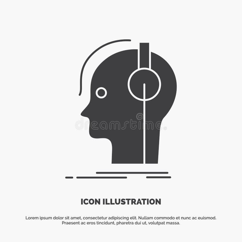 συνθέτης, ακουστικά, μουσικός, παραγωγός, υγιές εικονίδιο glyph διανυσματικό γκρίζο σύμβολο για UI και UX, τον ιστοχώρο ή την κιν απεικόνιση αποθεμάτων