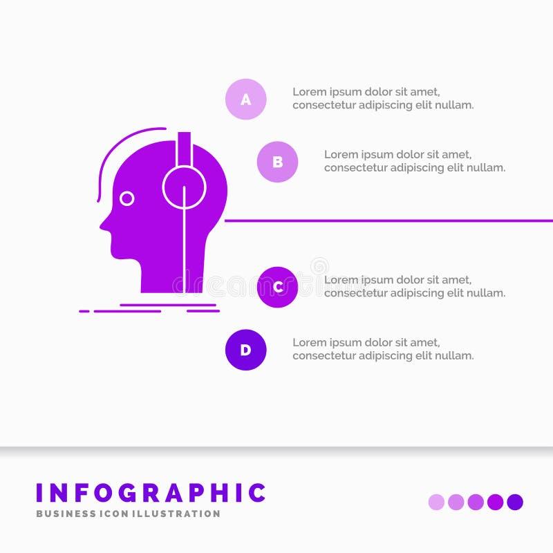 συνθέτης, ακουστικά, μουσικός, παραγωγός, υγιές πρότυπο Infographics για τον ιστοχώρο και παρουσίαση Πορφυρό εικονίδιο GLyph info απεικόνιση αποθεμάτων
