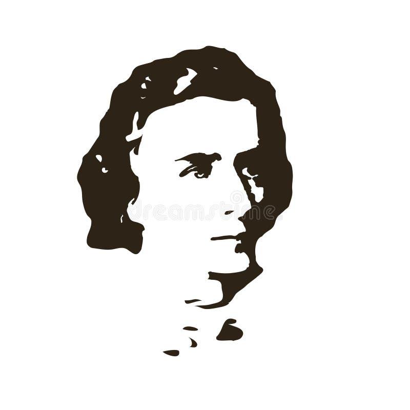 Συνθέτης Chopin background cards fashion good like portrait some use vector διανυσματική απεικόνιση