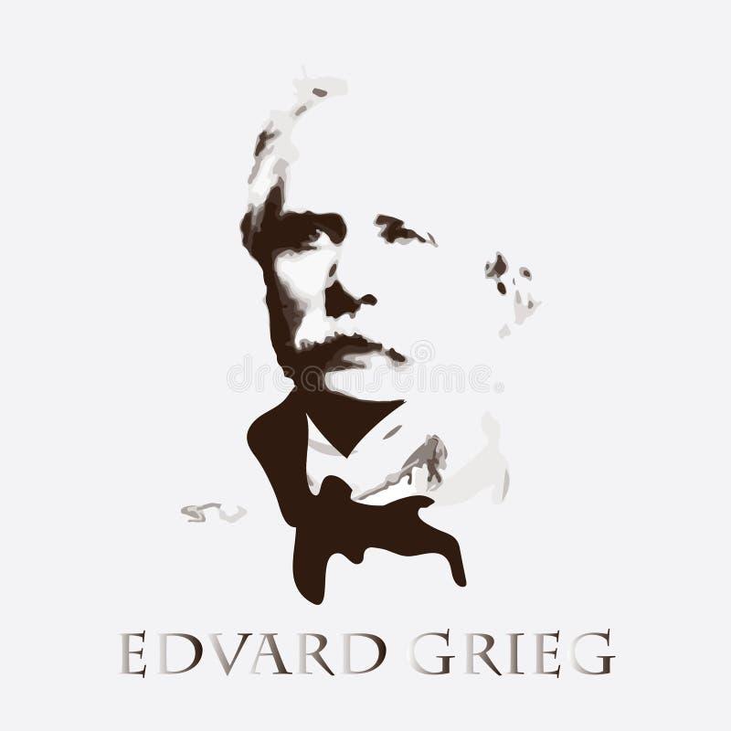 Συνθέτης Edvard Grieg background cards fashion good like portrait some use vector διανυσματική απεικόνιση