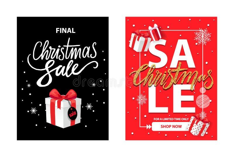 Συνολικά τελική πώληση Χριστουγέννων, τυλιγμένο κιβώτιο Χριστουγέννων διανυσματική απεικόνιση