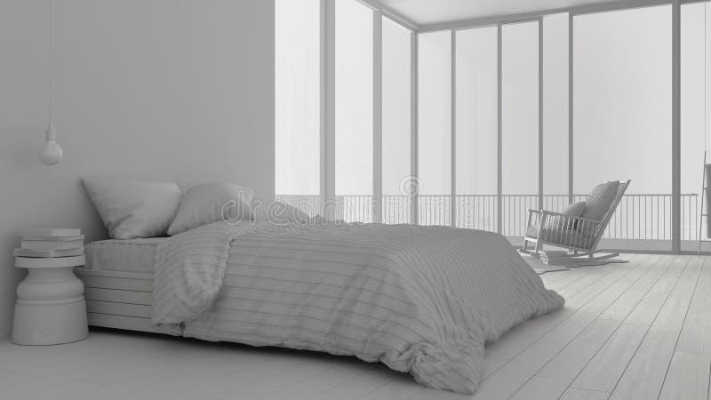 Συνολικό άσπρο πρόγραμμα της μινιμαλιστικής κρεβατοκάμαρας με το μεγάλους πανοραμικούς παράθυρο, τον τάπητα και την πολυθρόνα, ξε ελεύθερη απεικόνιση δικαιώματος