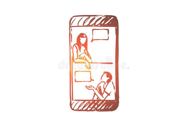 Συνομιλία, άνθρωποι, app, μήνυμα, κινητή έννοια Συρμένο χέρι απομονωμένο διάνυσμα απεικόνιση αποθεμάτων