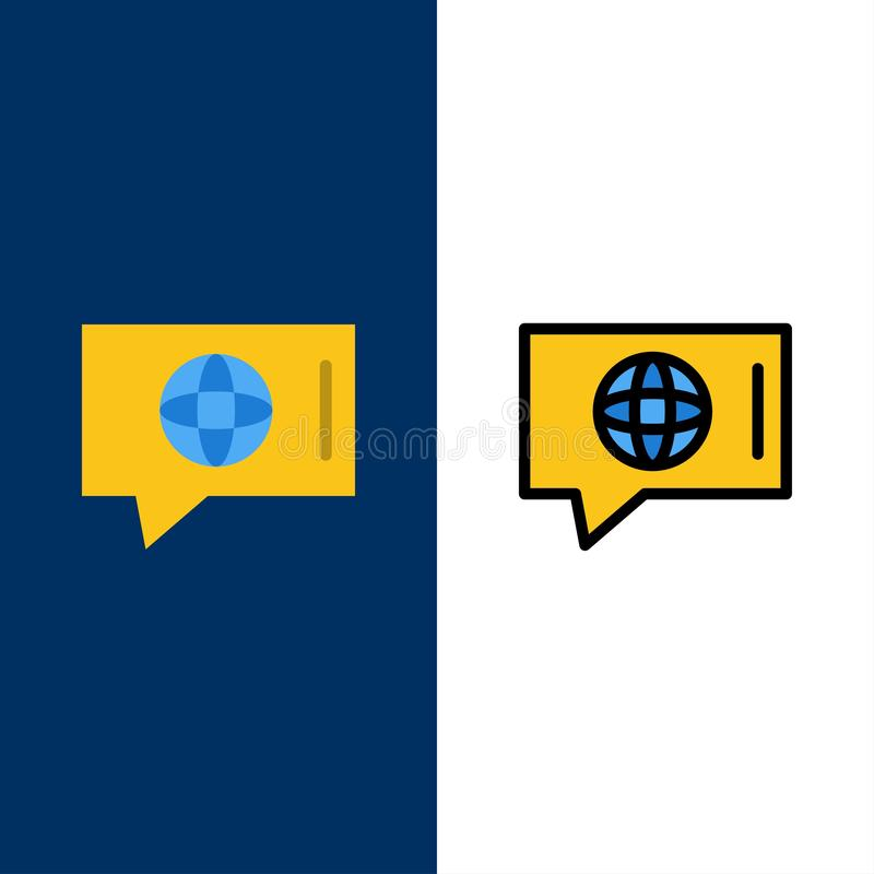 Συνομιλία, κόσμος, τεχνικός, εικονίδια υπηρεσιών Επίπεδος και γραμμή γέμισε το καθορισμένο διανυσματικό μπλε υπόβαθρο εικονιδίων ελεύθερη απεικόνιση δικαιώματος