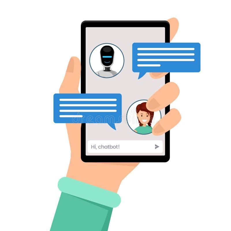 Συνομιλία με τη διανυσματική απεικόνιση chatbot Smartphone εκμετάλλευσης χεριών με τα είδωλα χρηστών και τα λεκτικά κιβώτια στην  ελεύθερη απεικόνιση δικαιώματος