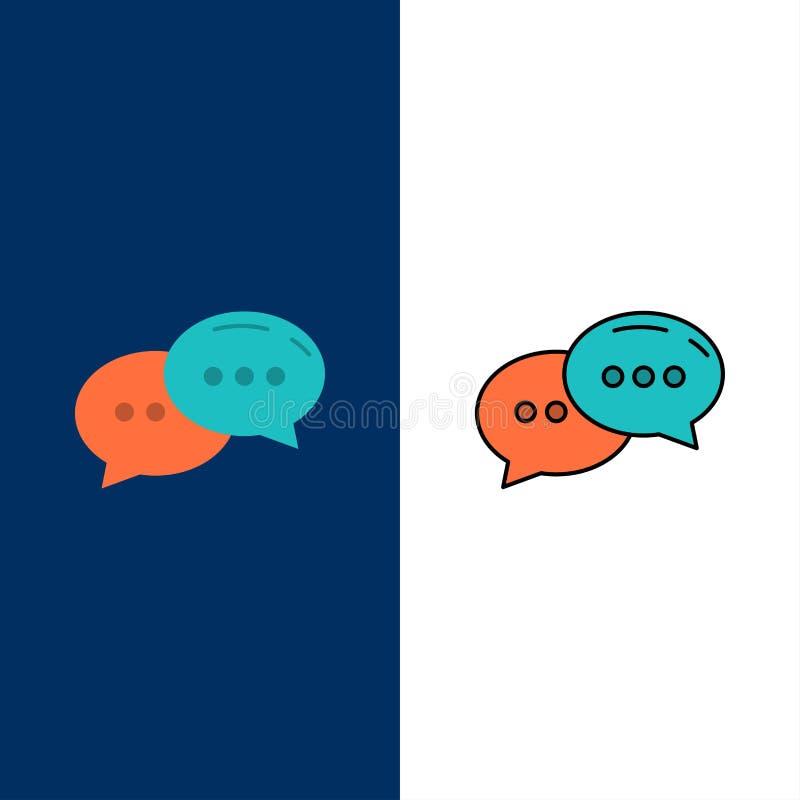 Συνομιλία, να κουβεντιάσει, συνομιλία, εικονίδια διαλόγου Επίπεδος και γραμμή γέμισε το καθορισμένο διανυσματικό μπλε υπόβαθρο ει απεικόνιση αποθεμάτων