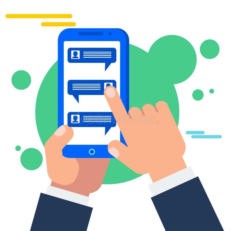 Συνομιλία στο smartphone Εικονική συνομιλία, σε απευθείας σύνδεση συνομιλίες διανυσματική απεικόνιση