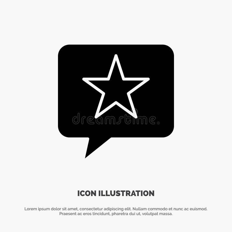 Συνομιλία, συμπάθεια, μήνυμα, στερεό διάνυσμα εικονιδίων Glyph αστεριών διανυσματική απεικόνιση