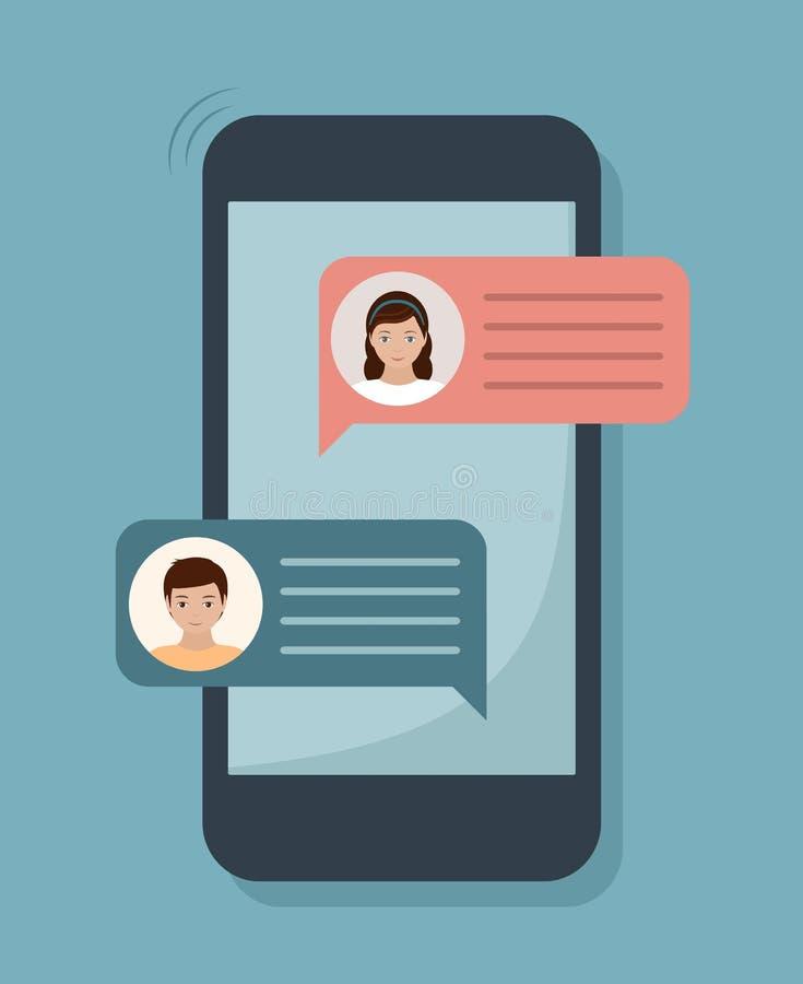 Συνομιλία συνομιλίας στην οθόνη smartphone Διάλογος ανδρών και γυναικών διανυσματική απεικόνιση