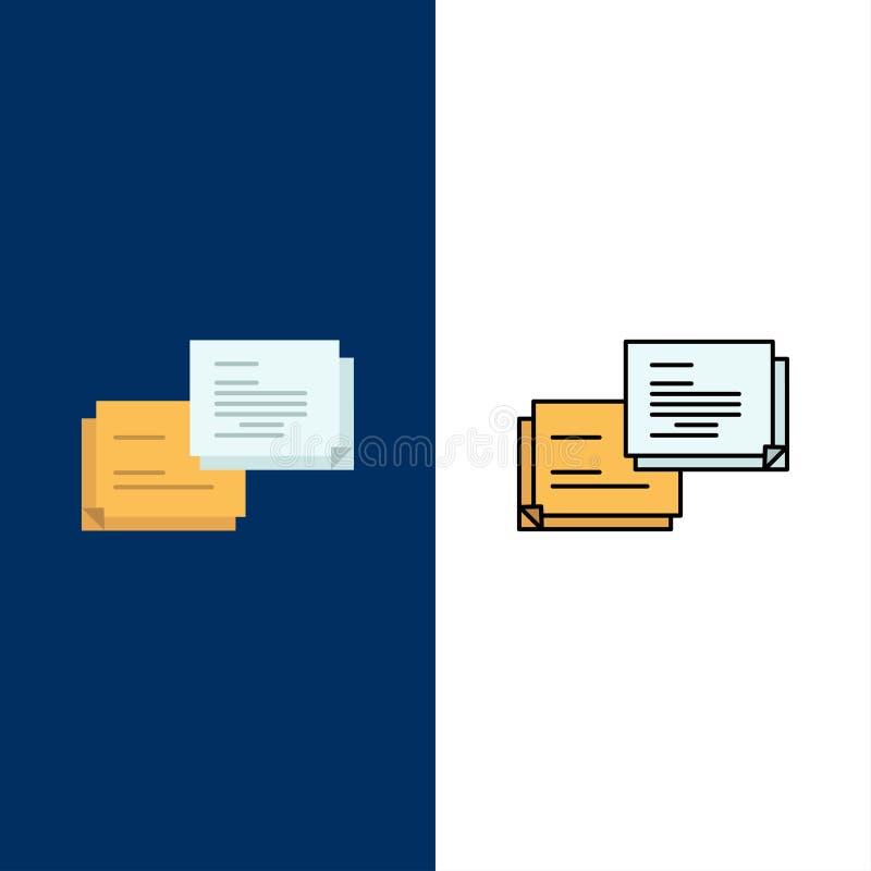 Συνομιλία, φυσαλίδα, μήνυμα, υπερεμφανιζόμενα εικονίδια Επίπεδος και γραμμή γέμισε το καθορισμένο διανυσματικό μπλε υπόβαθρο εικο απεικόνιση αποθεμάτων