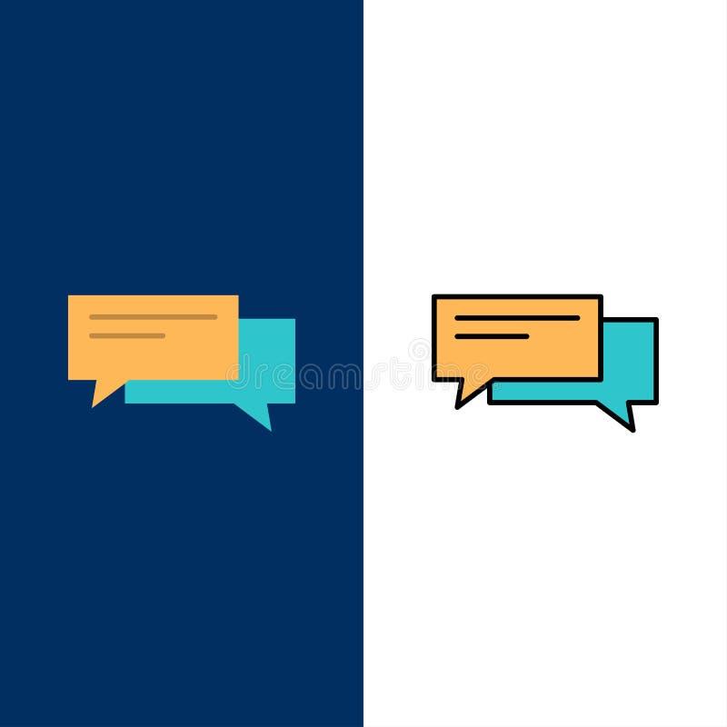 Συνομιλία, φυσαλίδα, φυσαλίδες, επικοινωνία, συνομιλία, κοινωνικός, λεκτικά εικονίδια Επίπεδος και γραμμή γέμισε το καθορισμένο δ ελεύθερη απεικόνιση δικαιώματος