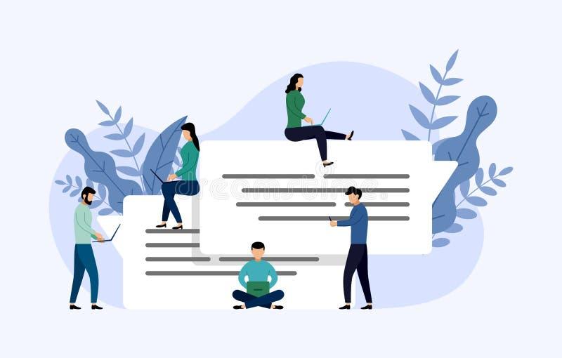 Συνομιλία φυσαλίδων μηνυμάτων, σε απευθείας σύνδεση να κουβεντιάσει ανθρώπων, επιχειρησιακή έννοια ελεύθερη απεικόνιση δικαιώματος