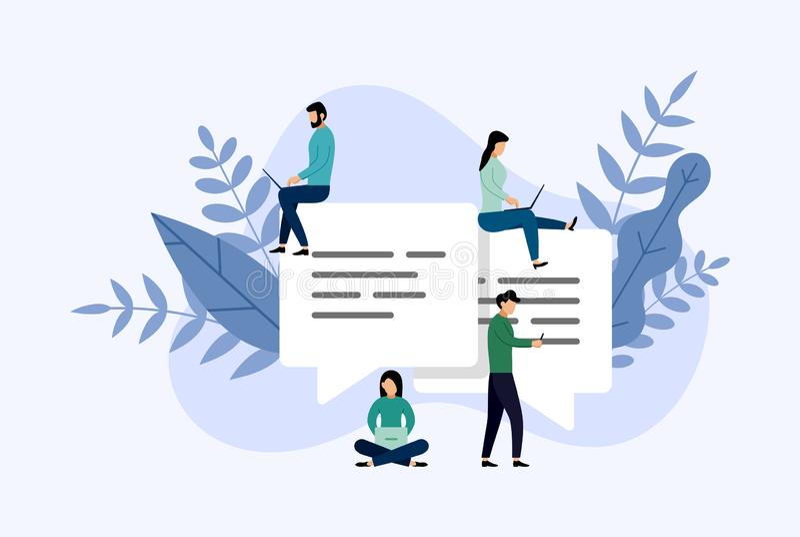 Συνομιλία φυσαλίδων μηνυμάτων, σε απευθείας σύνδεση να κουβεντιάσει ανθρώπων, επιχειρησιακή έννοια απεικόνιση αποθεμάτων