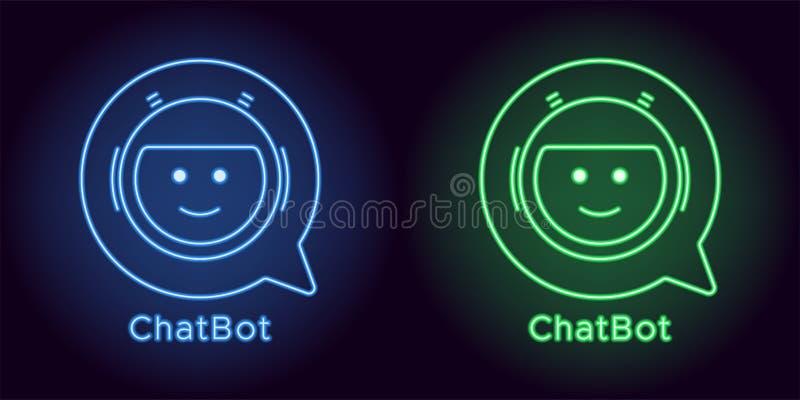 Συνομιλία BOT νέου στο μπλε και πράσινο χρώμα διανυσματική απεικόνιση