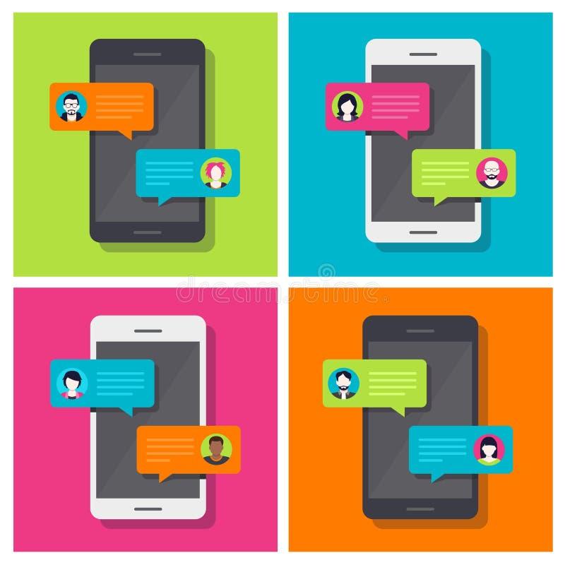 Συνομιλία Smartphone, συνομιλία διανυσματική απεικόνιση