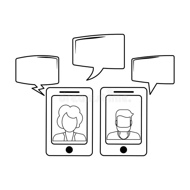 Συνομιλίες στο smartphone σε γραπτό διανυσματική απεικόνιση