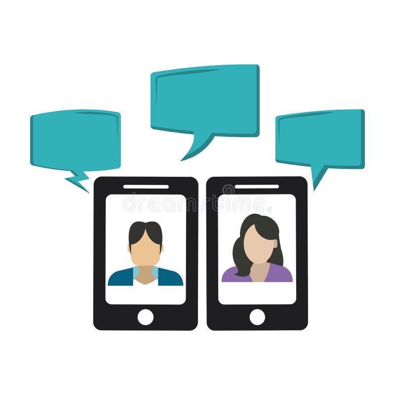 Συνομιλίες στο smartphone διανυσματική απεικόνιση