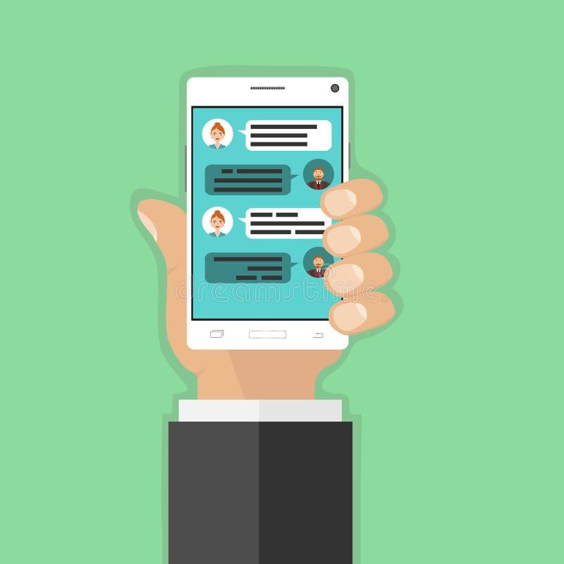 Συνομιλία, αλληλογραφία στο τηλέφωνο διανυσματική απεικόνιση