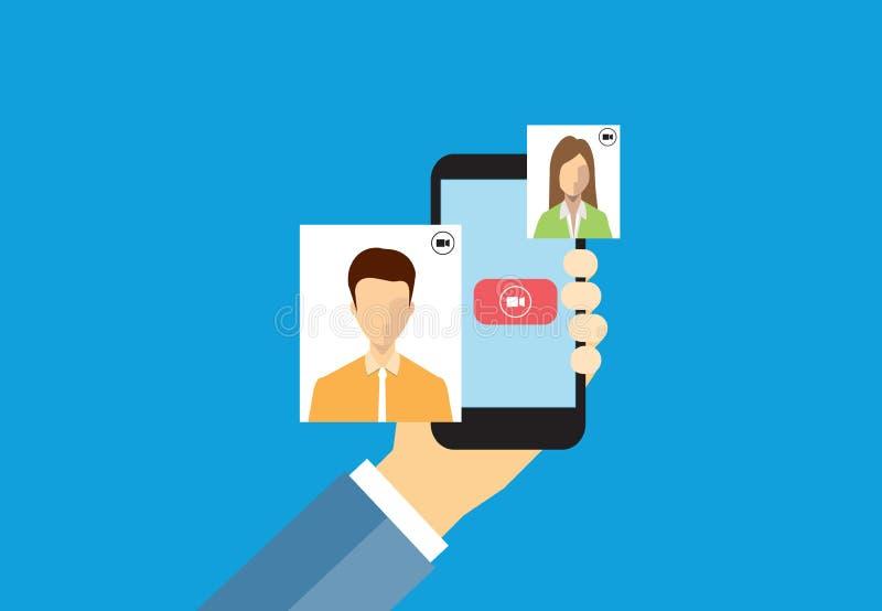 Συνομιλία επιχειρηματιών στην τηλεοπτική έννοια κλήσης απεικόνιση αποθεμάτων